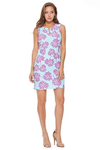 Split Neck Floral Shift Dress in Blue (Medium)
