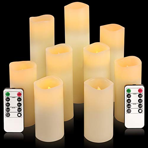 "comenzar Flameless Candles, Battery Candles Set of 9(H 4"" 5"" 6"" 7"" 8"" 9"" xD 2.2"") Ivory Real Wax Non Flickering Pillar Candles With Remote Timer by (Batteries not included)"