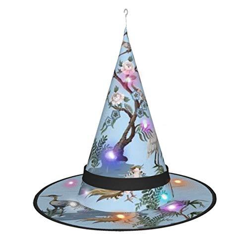 hfdff Chinoiserie-Stil mit Störchen führte Leuchthexe oder Zaubererhut, Halloween-Kostüm für Kinder, Erwachsene