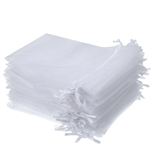 50 Pieces 4 by 6 Inch Organza Gift Bags Drawstring Jewelry Pouches Wedding Party Favor Bags (White)
