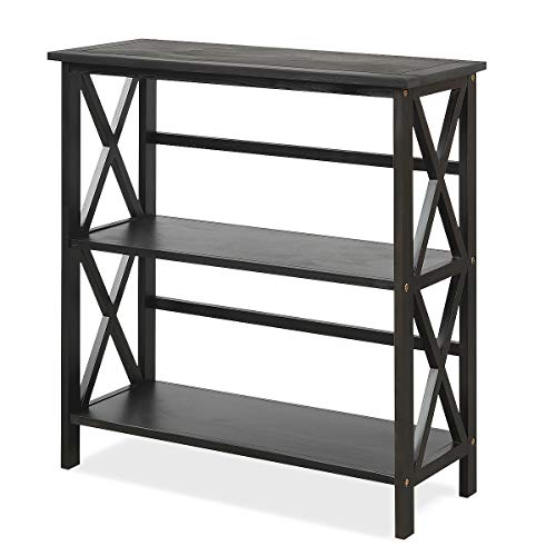 Tangkula 3-Tier Bookcase and Bookshelf, Wooden Open Shelf Bookcase, X-Design Etagere Bookshelf for Home Living Room Office, Multi-Functional Storage Shelf Units for Collection (Black)