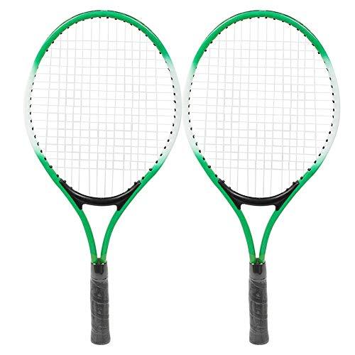 Jimdary Raquetas de Tenis para niños, Raqueta de Tenis de aleación de Hierro portátil, Accesorio de Raqueta de práctica para Principiantes, con Pelota y Bolsa de Transporte, Marco de Alta(Green)