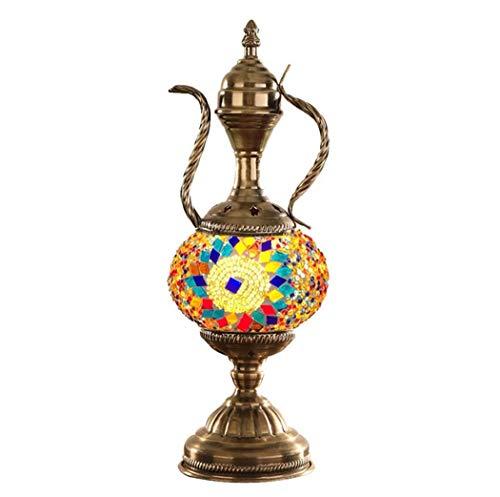 Yjmgrowing handgemaakte Turkse mozaïek glazen tafellamp persoonlijkheid theepot Marokkaanse lantaarn nacht mozaïek lampen decoratieve Tiffany stijl bureau nachtlampje E14 (15 * 38 cm)