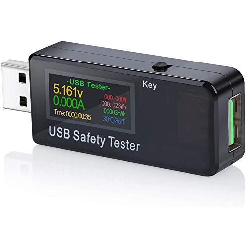 USB-Tester, AMANKA USB Multimeter QC2.0 QC3.0 Tester Strom(A) Spannung(V) Energie(Wh) Widerstand Kapazität(mAh) und Leistung(W) Zeit(Sekunden), Temperatur