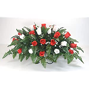 R15 Red and White Rose Buds Cemetery Flower Arrangement, Headstone Saddle, Grave, Tombstone Arrangement, Cemetery Flowers