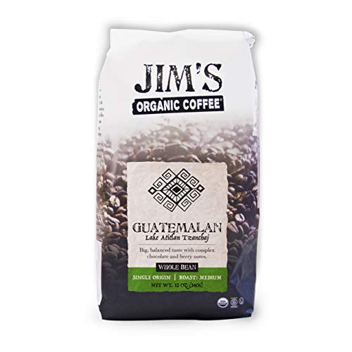 Jim's Organic Coffee – Guatemalan Lake Atitlan – Single Origin, Medium Roast - Whole Bean 12 oz Bag