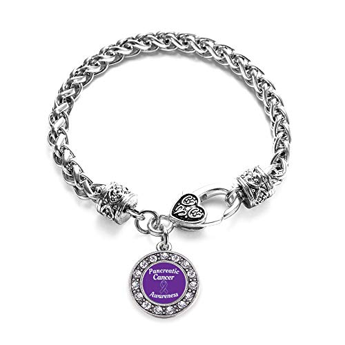 Inspired Silver - Pancreatic Cancer Awareness Braided Bracelet for Women - Silver Circle Charm Bracelet with Cubic Zirconia Jewelry