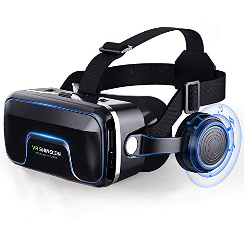 VR Brille - VR-Headset für 4,7-6,0 Smartphones | Komp. zu Nexus, Samsung, Lumia, LG, Moto, HTC, Huawei, Sony inkl. Kopfhörer + QR Codes [FOV 120° | PD + FD | Android] - G04EA