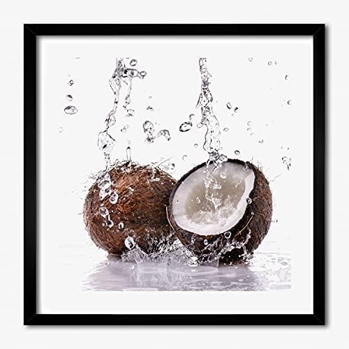 Tulup Image Cadre MDF 50x50 cm Peinture Photo AfficheCadre en Bois Tableau Moderne - Noce di cocco e acqua