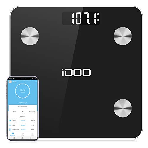 Find Cheap Smart BMI Scale, iDOO Bluetooth Body Fat Scale Tracks 13 Measurements, Digital Bathroom W...