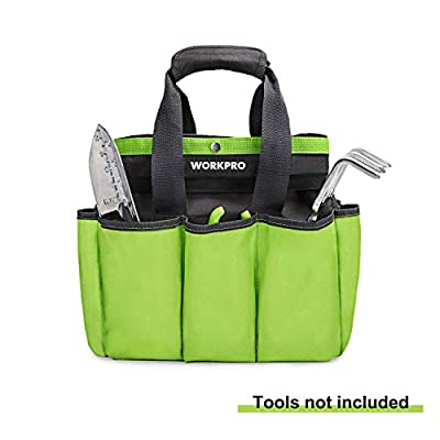 """WORKPRO Garden Tool Bag, Garden Tote Bag with 8 Oxford Pockets for Indoor and Outdoor Gardening, Garden Tools Set, 12""""x 12"""" x 6"""" (Tools NOT Included)"""