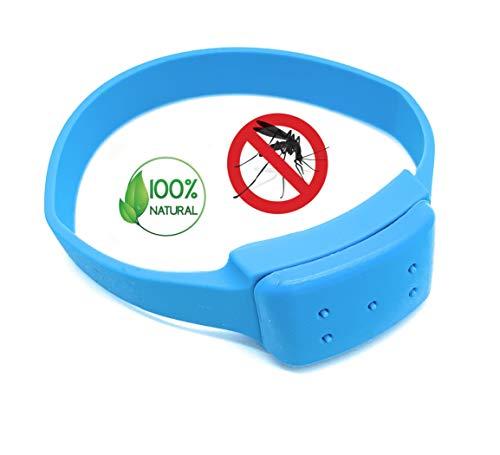 Premium Insektenschutz Anti-Mücken Armband Blau | 100% natürliche Öle - DEET frei | Mückenarmband Moskito Mückenschutz | Schutz gegen Mosquito Indoor Outdoor | für Erwachsene und Kinder Camping Angeln