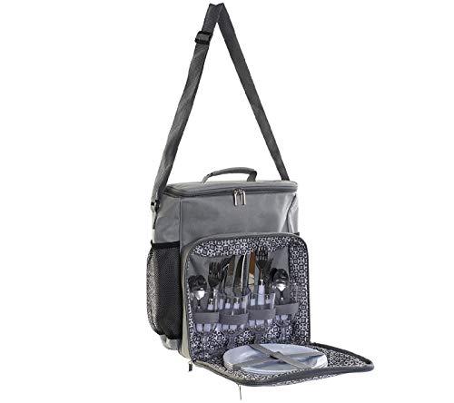 NAUTICALMANIA Picknick-Rucksack, Grau, Polyester, 4er-Set, 21 Teile, für den Innenbereich, Picknick-Set, Gläser, Besteck und Teller für 4 Personen, Thermo-Rucksack, 39 x 21 x 41 cm