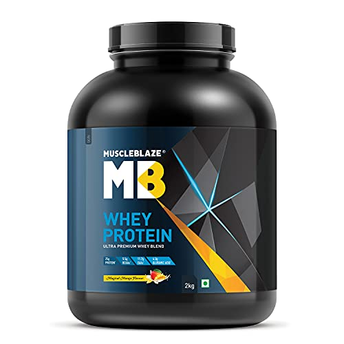 MuscleBlaze 100% Whey Protein, Ultra Premium Whey Blend (Magical Mango, 2 kg / 4.4 lb, 60 Servings)