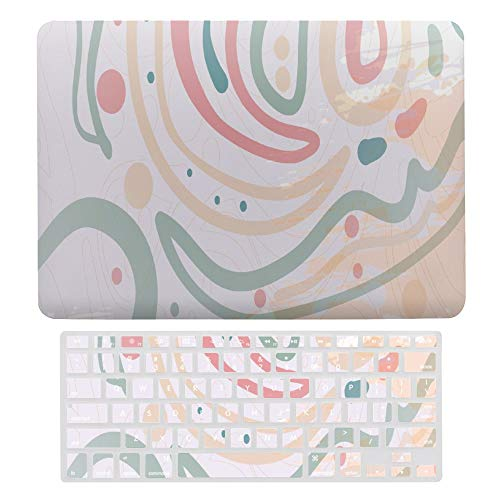 Plastic Hard Shell Case & Keyboard Cover Compatible with MacBook Air 13 Inch (Models: A1466, A1369), Modern Abstract Art Line Polka Dot Laptop Keyboard Membrane Protective Shell Set