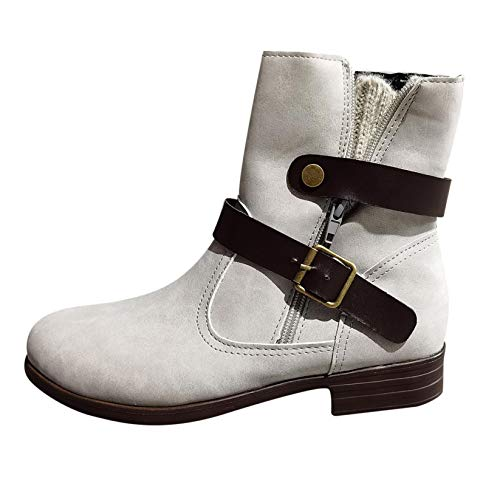2020 Booties for Women's Winter Zip Up Ankle Boots Ladies Outdoor Casual Buckle Low Heeled Shoes