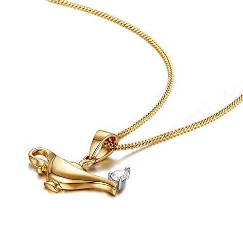 GuDeKe Legierung Schmuck Allah Aladdin Flaschengeist Lampe mit Strass Stein Ahhänger Damen Halskette