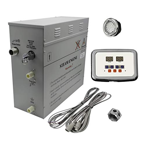 Superior 9kW Self-Draining Steam Bath Generator with Waterproof Programmable Controls and Chrome Steam Outlet with Free Light