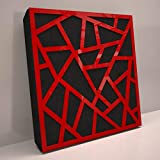 (4 Pack) Sound Absorption-Diffuse Acoustic Panel «Skyross» for rec.studio   Red glossy (plastic)