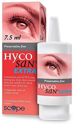 Hycosan Extra - Double Pack - Preservative Free Eye Drops - Sodium Hyaluronate 0.2% - for Treatment of Dry Eyes - 2x7.5ml