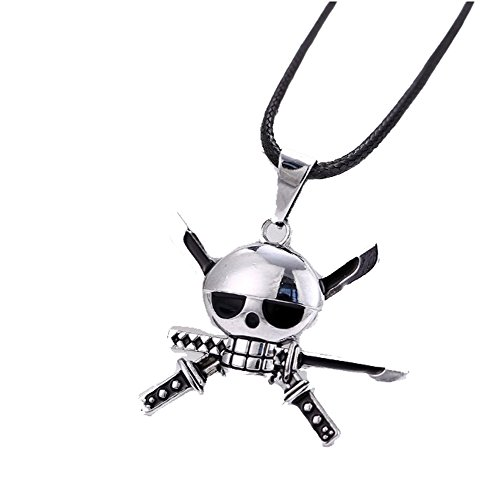 Touirch Anime One Piece Luffy Skeleton Straw Ace Hat Alloy Necklace Pendant Costume (A)