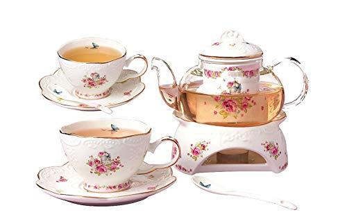 YBK Tech Tee-Set für 2, Knochenporzellan Kaffeekanne, Teekanne und Untertasse, Set mit Stövchen und Tee-Ei, Blumenmuster…