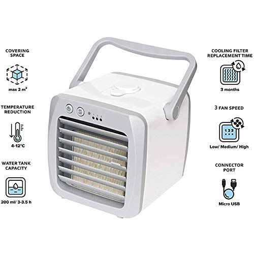 Doifck Portable Air Cooler USB Mini Air Conditioner Fan Noiseless Touch Control 3 Speed Mobile Desk Cooling Fan and Humidifier for Home Office Car Outdoor