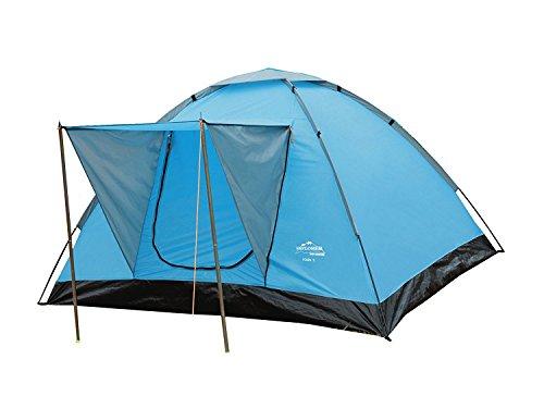 EXPLORER Zelt Rügen 3 Kuppelzelt mit Vordach 200x180x120cm 2/3 Personen 2000mm Wassersäule wettergeschützter Eingang Outdoor Wandern Familie Camping