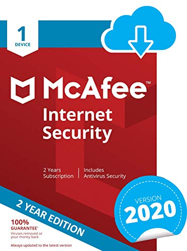 McAfee Internet Security 2021 | 1 Device | 2 Years | PC/Mac/Android | Download Code
