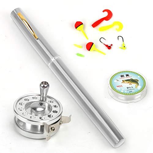 Outamateur Upgraded Pen Fishing Rod Reel Combo Set Mini Pocket Telescopic Fishing Pole Kit with Fishing Rod and Spinning Reel Combo Kit for Saltwater Freshwater Lightweight Portable (Sliver, 1.4M)