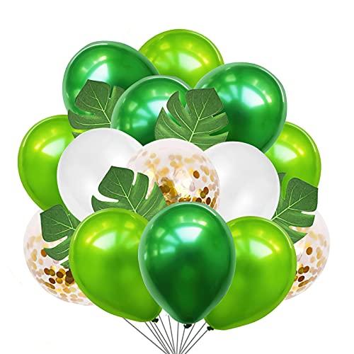 Globos de fiesta de la jungla, Globos verde y blanco, globos de la jungla, globos de la jungla, globos verdes y blancos, para fiestas de cumpleaños y fiestas con diseño de dinosaurios