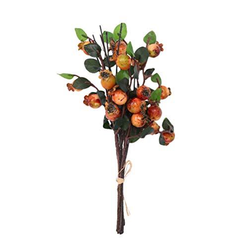 SUPVOX Decoración Artificial de Granada Tallos Florero Ramas de Frutas Ramo de Flores de Boda - Naranja