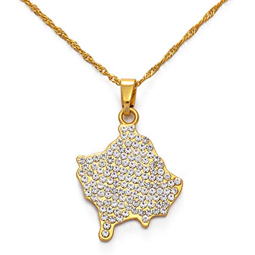 FDDSSYX Collar De Mapa,Creatividad Collares Colgantes De Kosovo con Pedrería para Mujeres Niñas Oro Color/Plata Color Joyería Collares Accesorios, Color Oro, 60 Cm