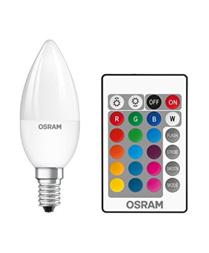 Osram LED Star+ Classic B RGBW Lampe, in Kerzenform mit E14 Sockel, dimmbarkeit und Farbsteuerung per Fernbedienung, Ersetzt 25 Watt, Warmweiß - 2700 Kelvin, 1er-Pack