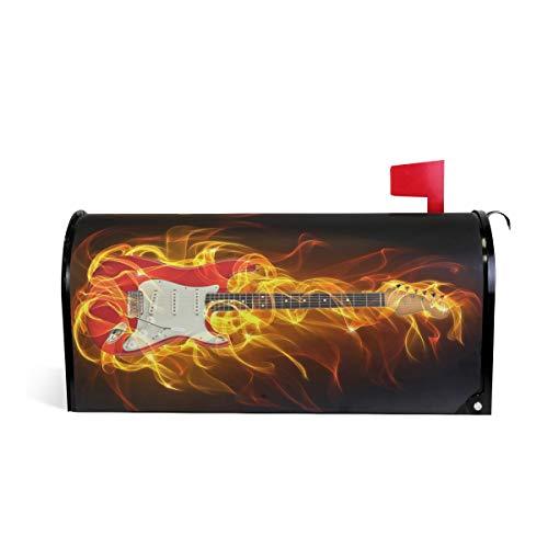 Rulyy Magnet-Briefkastenabdeckung für brennende Gitarre, Feuerflamme, Standardgröße, Übergröße, Heimdekoration für Garten, Hof 53,3 x 45,7 cm/63,5 x 53,3 cm, mehrfarbig