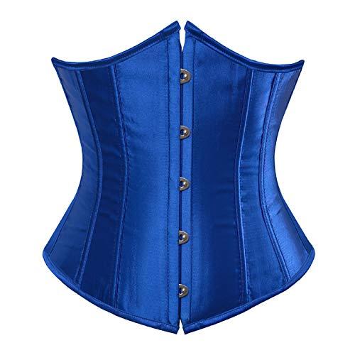 Vintage Women Corset Top Royal Silk Satin Shapewear Lace Up Boned Overbust Bustier Sexy Plus Size(Bright blue,3XL)