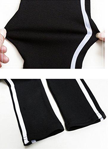 (ミズミス)Ms.Missマタニティサイドラインレギンスパンツ2本ライン大きいサイズウエストゴム調節可(ブラック,XL)