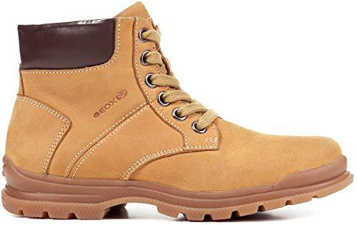 Geox J845HB Navado Modischer Jungen Leder Stiefel, Schnürstiefel, leichtes Fleece Futter, atmungsaktiv Gelb (Yellow/DK Brown), EU 32