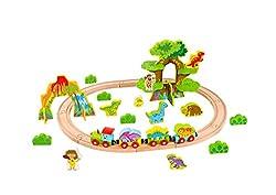 5. Tooky Wooden 40pcs Dinosaur Train Set