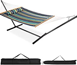 VALLEYRAY Quilted Hammock and Stand and Detachable Pillow with Carry Bag, Hammock with Spreader Bars Heavy Duty, Double Hammock and Stand Accommodates 2 People, 480 Pound Capacity.