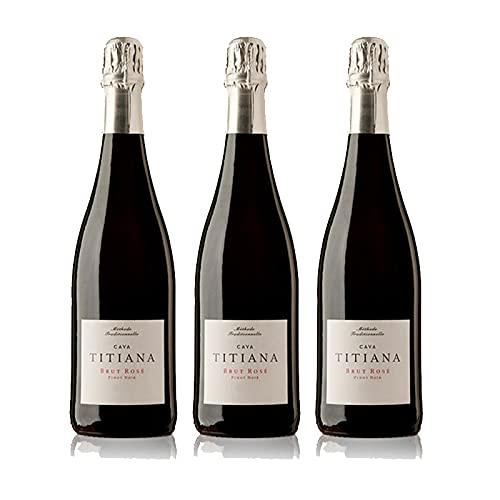 Vino Espumoso Cava Brut Titiana Pinot Noir Rosado de 75 cl - D.O. Cava - Bodegas Parxet (Pack de 3 botellas)