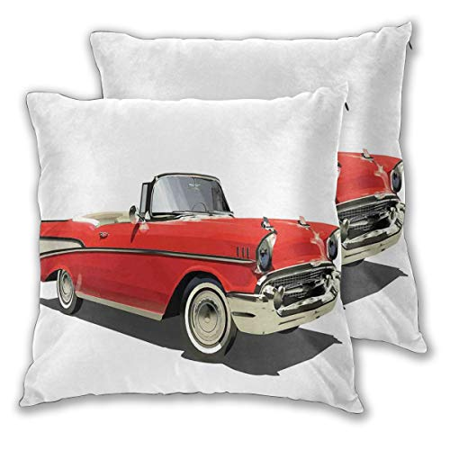 LISNIANY Cushion Cover,Old Fashioned Authentic Fancy Car with Open Roof Top Past Times Transportation Theme,Pillow Case Cover Square Cushion Cover for Sofa Car Home Bed Decor 45 x 45cm