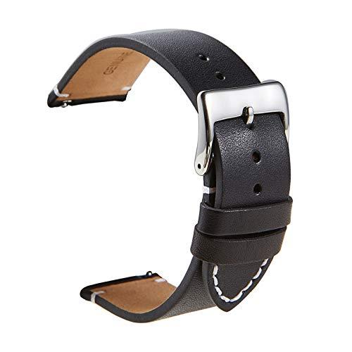 Cuero auténtico Reloj de Correas de Reloj 16mm/18mm/20mm/22mm/24mm Reloj Accesorios de liberación rápida, 20mm