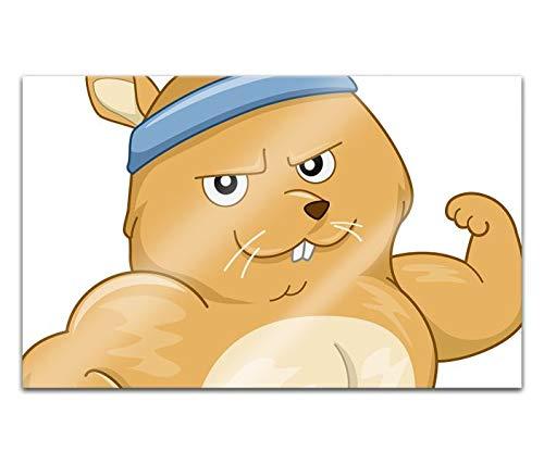 Acrylglasbilder 80x50cm Cartoon Maus Hamster Sport lustig Tiere Acryl Bilder Acrylbild Acrylglas Wand Bild 14H1687