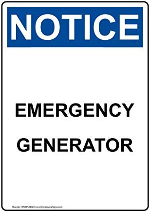 Kennisgeving Noodgenerator OSHA Veiligheidsbord, Grappige Blik Metalen waarschuwingsborden voor eigenschap, Aluminium, Poortbord, Hek Teken Buiten, 8