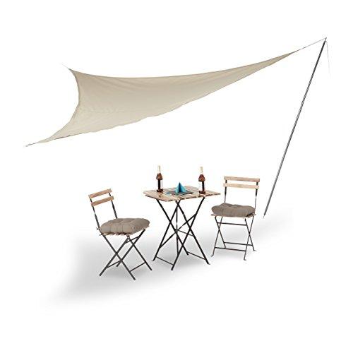 Relaxdays Sonnensegel groß mit Stange, dreieckig, Polyester, UV-beständig, einfarbig, beige