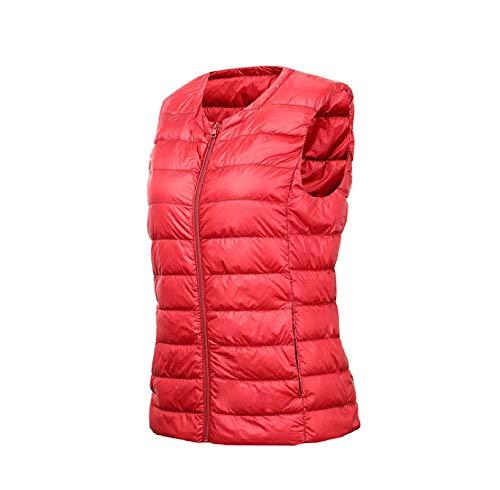 Damas de Cuello Redondo Ligera Chaleco, sin Mangas de la Cremallera de la Chaqueta, el Chaleco al Aire Libre con Bolsa de Almacenamiento Red-S