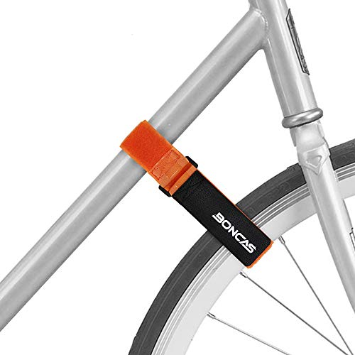 Boncas Adjustable Bike Rack Strap Bicycle Wheel Stabilizer Straps with Innovative Gel Grip Keep The Bicycle Wheel from Spinning - Orange 2 Pack