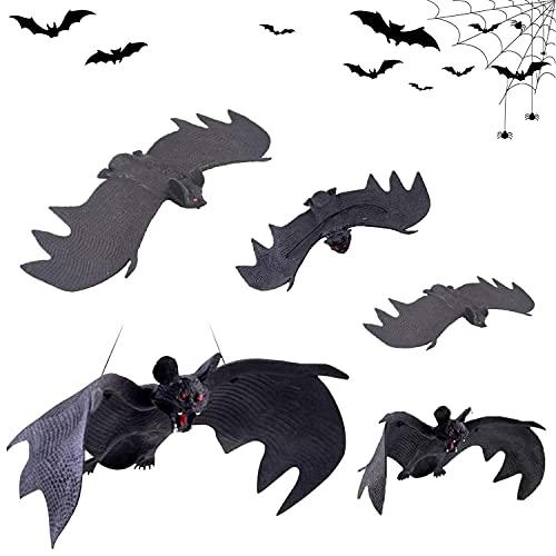 Decoración de Halloween Murciélagos, 5 Piezas Murciélagos Colgantes, Murciélagos Adornos, Simulación Murciélago Decoración, Exquisitos Accesorios para Decoración De Fiesta De Halloween