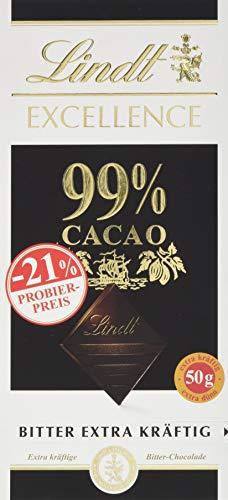 Lindt & Sprüngli Excellence Promotion Tafel, 99{6f07a8ee35e9643bdc0f6988df9372f1b0fe73ee59abb2a714263a133f2d000d} Cacao, glutenfrei, laktosefrei (1 x 50 g)